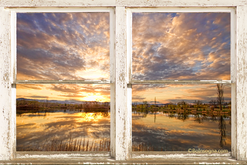 sunset reflections golden ponds 2 white farm house rustic window window view art