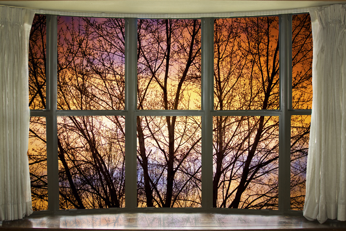 Sunset Into The Night Bay Window View Window Frame Art