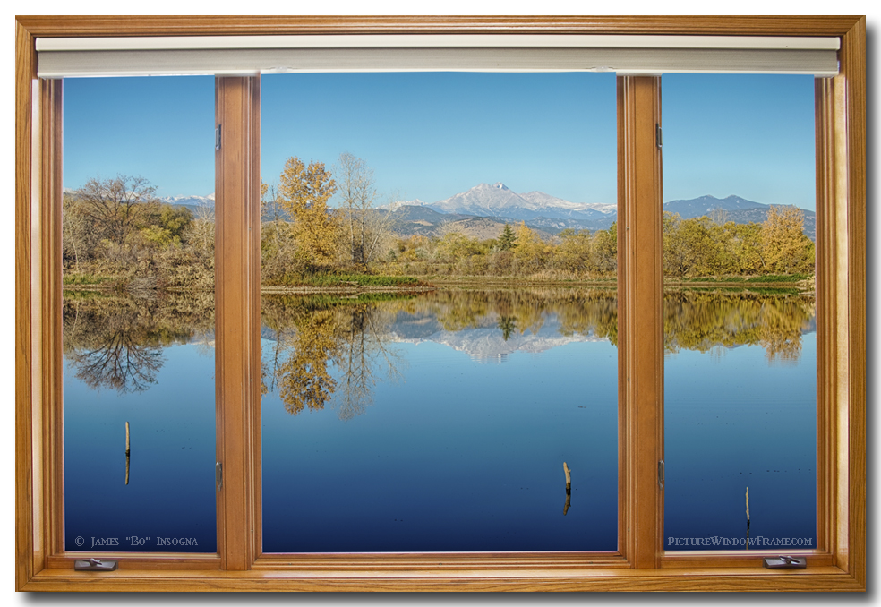 colorado longs peak waterfront reflections wood window
