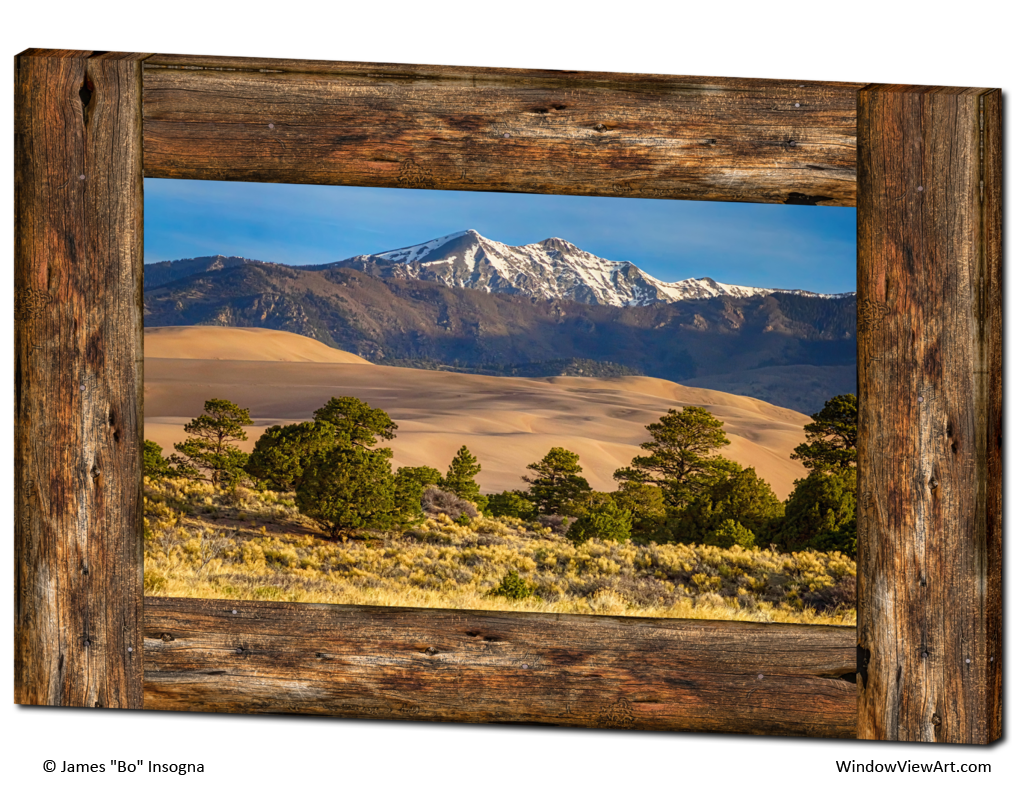Colorado great sand dunes rustic wood window view 32 x48 for Wood windows colorado